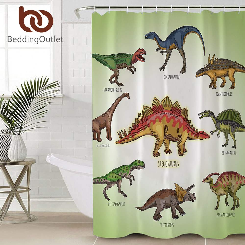 Detail Feedback Questions About BeddingOutlet Cartoon Dinosaur Shower Curtain For Kids Boys Jurassic Bathroom Waterproof Polyester Bath With Hooks