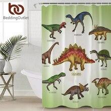 BeddingOutlet Cartoon Dinosaur Shower Curtain For Kids Boys Jurassic Bathroom Waterproof Polyester Bath With Hooks