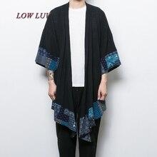 China style men's cotton linen trench jacket long kimono windbreaker coat male loose shawl cardigan coat/casaco masculino