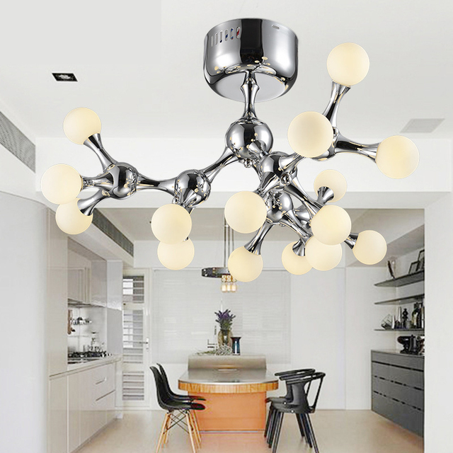 Modern led ceiling lights chrome color dna luminaria for living room bedroom foyer vintage ceiling lamp