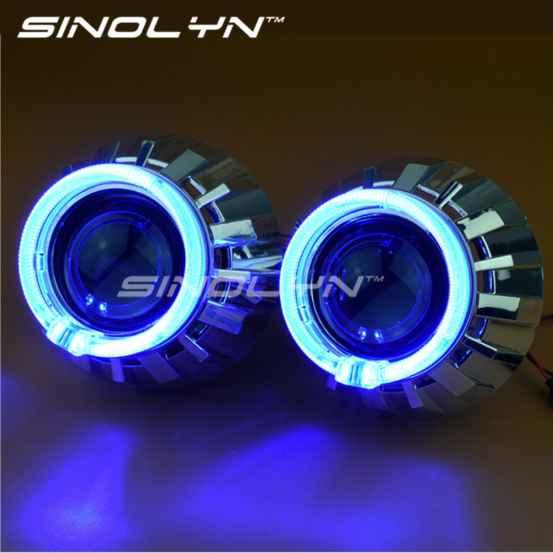 Automobiles LED Angel Eyes Halo HID Bixenon Projector Lens for Headlight 2.5'' Car Accessories Lenses Retrofit DIY H1 H4 H7 gztophid car styling retrofit 2 5 h1 hid wst bixenon projector lens h4 h7 with ccfl angel eyes for car headlight