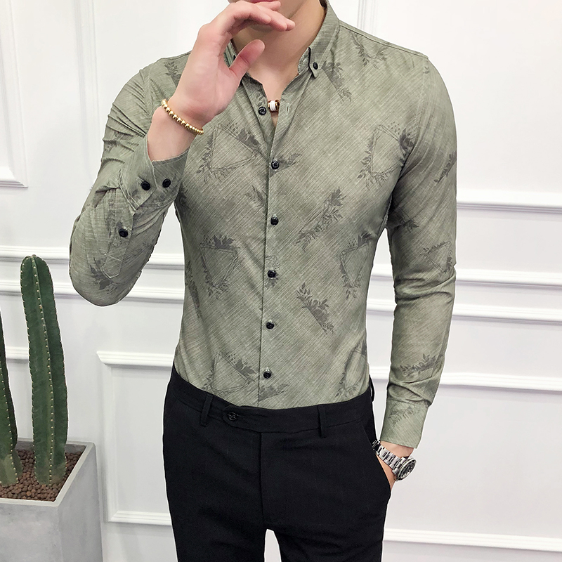 2018 long-sleeved Korean version of the slim handsome shirt night shop trend casual dress groom wedding flower shirt