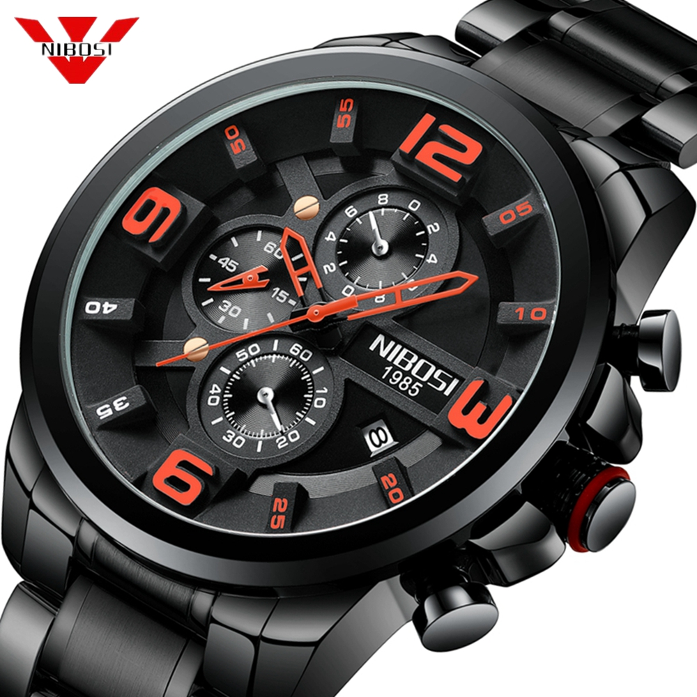 NIBOSI Unique Design Men Wristwatch Wide Big Dial Casual Quartz Watch Business Male Sport Watch Men Creative Relogio Masculino