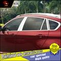 Janela Da Guarnição de Aço inoxidável estilo do carro adesivo Para BMW X1 X3 X5 X6 Janelas coluna do meio moldura Da Janela Da Guarnição de Lantejoulas acessórios