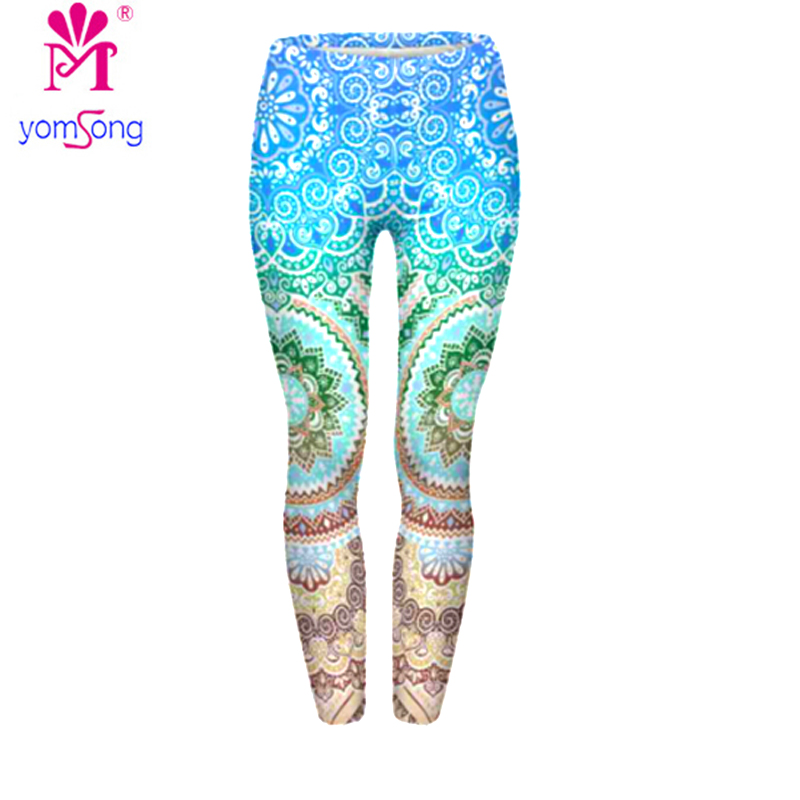 Yomsong 2018 Digital Printing Purple Blue Flash Light Leggings For Women Aztec Round Ombre Multi Colors Bright Fashion Leggings
