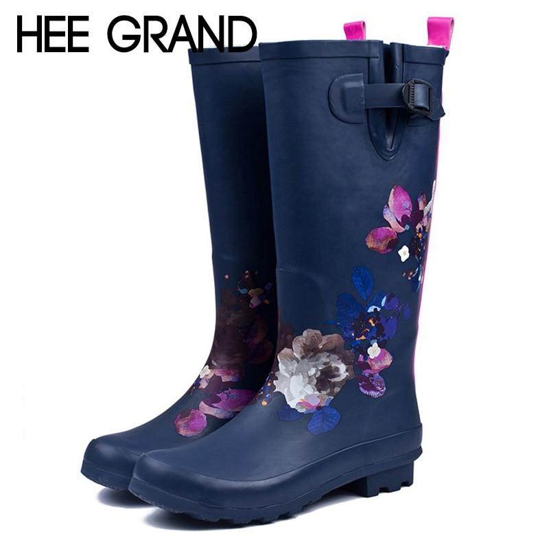 HEE GRAND Women Rain Boots Women Fashion Ladies' High Water Boots Natural Rubber Rain Boots Women Shoes Size 35-42 XWX6736 hxrzyz big size rain boots new fashion non slip rubber boots waterproof fishing boots in the tube rain shoes women
