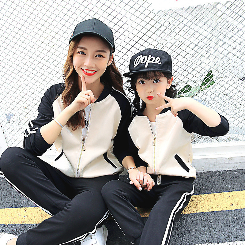 Parenting Installed Autumn New Pattern Hot Autumn Girl Korean Motion Jacket Split Joint Loose Mother 2 Pieces Kids Clothing Sets parenting stress of mother and relationship with children
