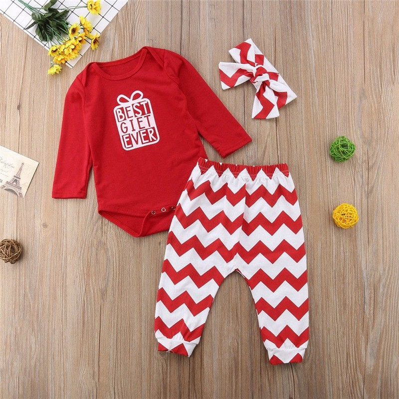 Autumn Long Sleeve Xmas Christmas Red Bodysuit Jumpsuit Pant Headband Girl Clothing Outfits Newborn Kids Baby Girls Clothes Set