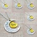 Te Amo A La Luna Y Volver Mamá Familia Collares Colgantes de La Manera Joyería de Las Mujeres Collar de Plata de La Vendimia de Regalo de Navidad