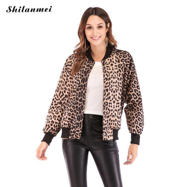 26427547c600 Leopard Print Jacket Women Long Sleeve Streetwear Tops 2019 Autumn Spring  Baseball Basic Jacket Fashion Girl