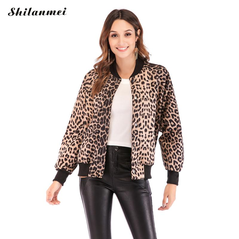 Leopard Print   Jacket   Women Long Sleeve Streetwear Tops 2019 Autumn Spring Baseball   Basic     Jacket   Fashion Girl Thin Bomber Coat