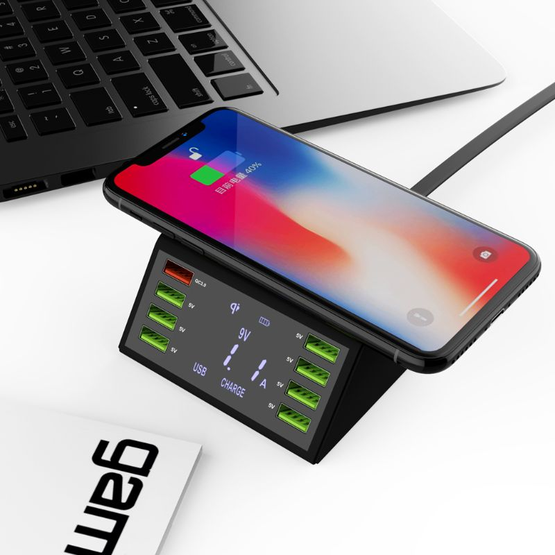 60W QC 3.0 Quick Charge 8 USB Ports Charging Dock Station Qi Wireless Fast Charger with Voltage Current Display For iphone X6HA