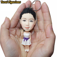 custom clay figurines keychain full body about 10CM size cute ceramic clay ooak doll mini stadue from your photo pictures gifts