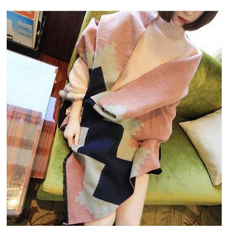 Winter Cashmere Scarf font b Tartan b font Causal Echarpe Hiver Femme Geometric Rhombus Blanket Scarf