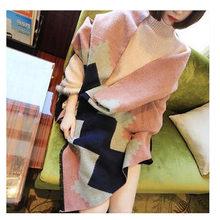 Winter Cashmere Scarf Tartan Causal Echarpe Hiver Femme Geometric Rhombus Blanket Scarf Brand Pashmina YJWD376