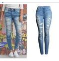 Лето Весна женская Мода Джинсы Разорвал Отверстие Тощий Моды Полная Длина Эластичный Стрейч Женщины Прилива Середины Талии Мыть джинсы