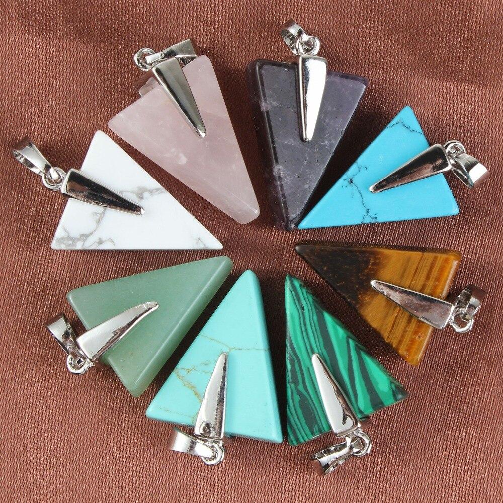 Kraft-beads Simple Style Purple Crystal Pink Quartz Tiger Eye Stone Geometric Pendant Malachite Necklace Link Chain
