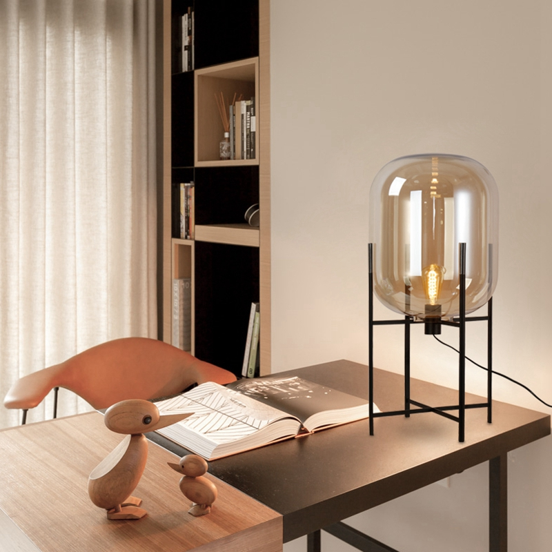 Modern Nordic Four Tripod Table Lamps E27 Glass Lampshade Creative Living Room Bedroom Bedside Study Lighting Table Lamps Led Table Lamps Led Lamps