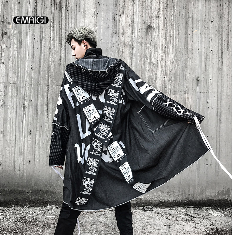 EMAIGI Cross Ribbon Overcoats Men High Street Printing Hip Hop Punk Style Long Hooded