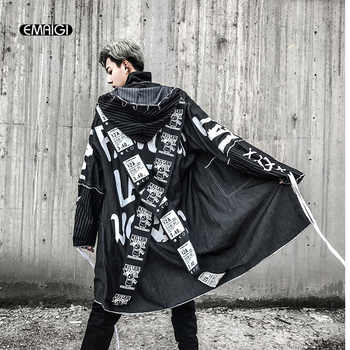 Cross Ribbon Overcoats Men High Street Fashion Printing Hip Hop Punk Style Long Hooded Trench Jacket Male Loose Coat - DISCOUNT ITEM  23% OFF All Category