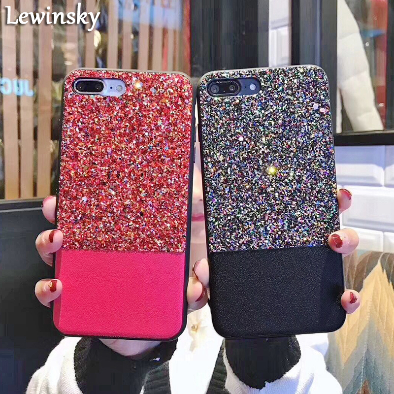 Luxury Glitter Bling Case For iphone 7 Case Fashion Cute Star Cover Shining Powder Phone Case For iphone 8 7 Plus Soft tpu Coque