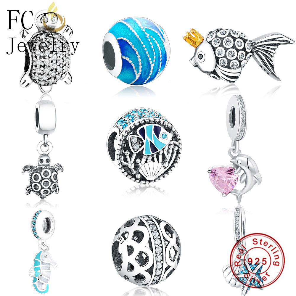 FC Jewelry Fits Original Pandora Charms Bracelet 925 Silver Animal Sea Fish Shell Starfish Beads Pendant for Making Berloque DIY