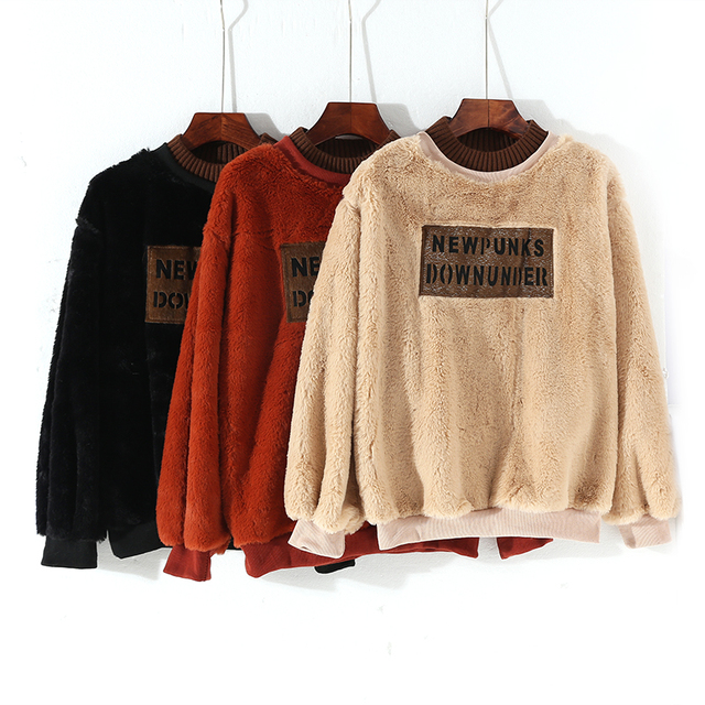 f5d778d858 2018 new spring autumn alphabet printed sweatshirt cloth color a fluffy  coat hoodies thick female warm fur tops Lantern Sleeve