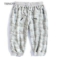 Tsingyi Summer 8XL Big size Men Beach camouflage Elastic Waist Shorts Cotton Knee Length Straight Homme Camo Mens