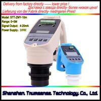 1 Piece 4 to 20mA Integrated Ultrasonic Level Meter Ultrasonic Water Level Sensor 10m 24VDC Power to Measure Liquid Level