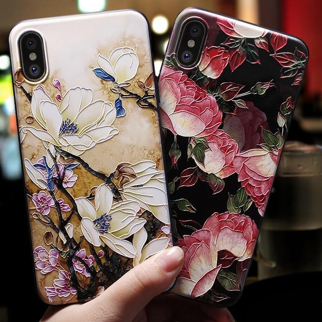 Para iphone xs max 5 5S se caso para iphone 6 7 8 6 s caso para iphone X XS X XR 7 funda de teléfono negra con flores rosas 8 6 Plus