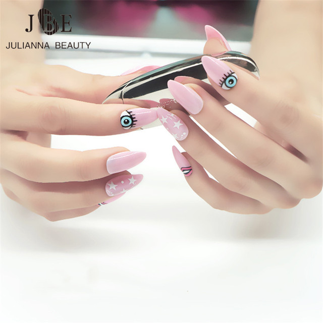 Cute Eyes Pink Color 24Pcs Oval Stiletto Pointy Full False Nail Tips ...