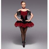 Spanish Red Adult Professional Ballet Tutu With Tassel Sleeve Raymonda Red Black Classic Ballet Dress Sexy