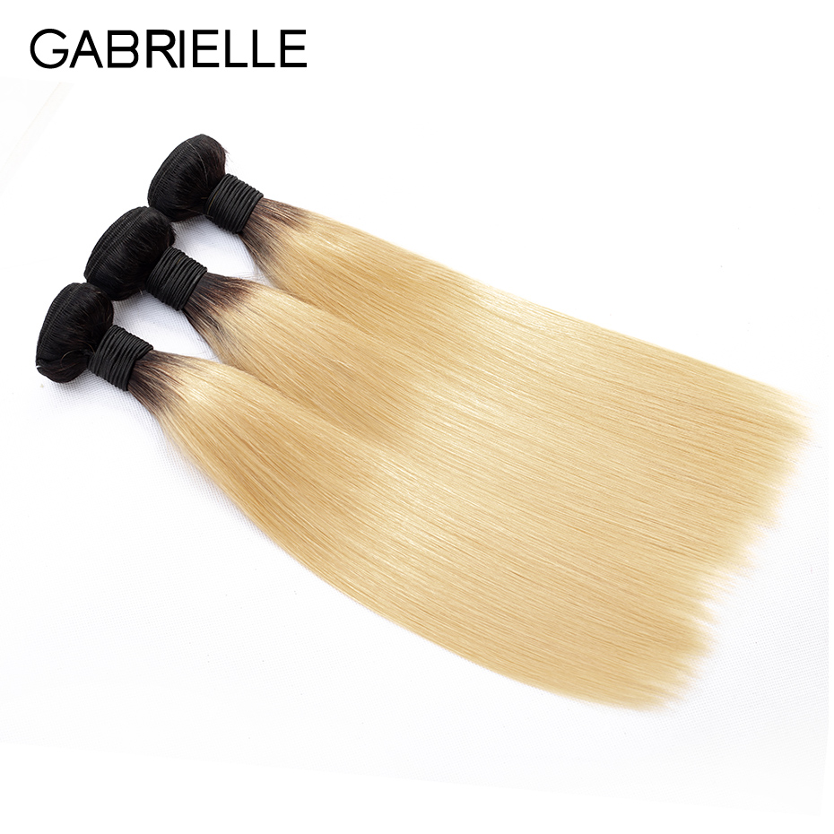 Gabrielle Brazilian Straight Hair Bundles Ombre Hair T1B 613 Blonde 3 Pieces 100 Non remy Human