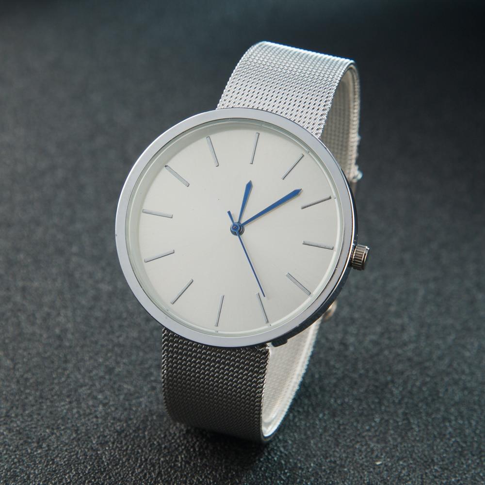 Nueva Moda Simple Estilo de Las Mujeres de Malla De Acero Reloj Casual Reloj de pulsera de Cuarzo Señoras Reloj Análogo de Los Hombres Relojes Relogio Feminino Masculino