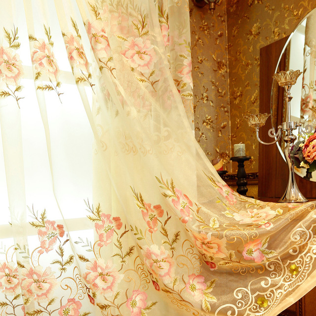 Semi Shading Jacquard Luxury Villa Decoration Europe Embroidered Curtain  For Living Room Window Tulle Treatment