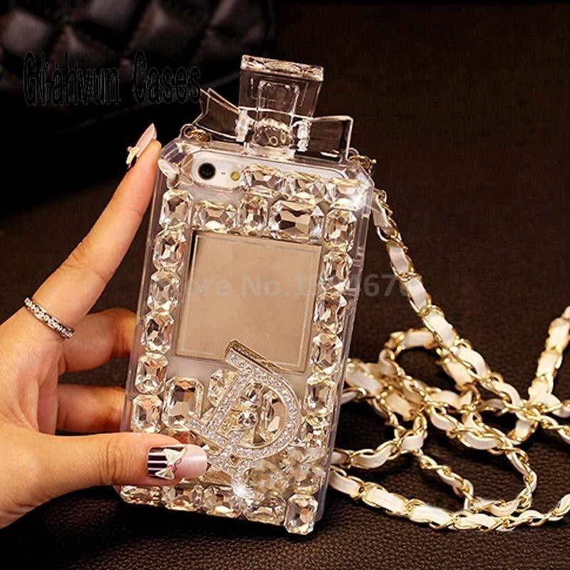 bilder für Weiß Luxus Bling Kristall Diamant Lanyard Ketten TPU Für Samsung S6 S7 S8 rand S5 S4 Anmerkung 4 3 5 für iPhone 5 SE 6 S 7 Plus fall