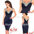 Free Shipping Navy Blue Short Luxury Cocktail Dresses Rhinestones Sexy Party Gown Mini Vestidos Coctel 2016 Shinning Women