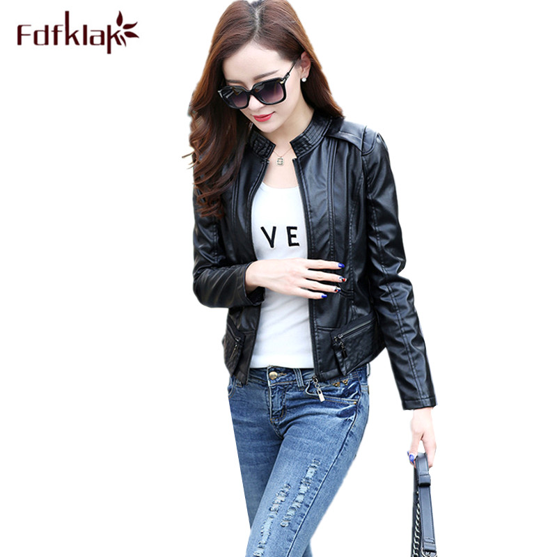 Fdfklak Fashion Stand collar moto   leather   coat women spring autumn pu jacket female slim women's coats jaqueta de couro M-2XL