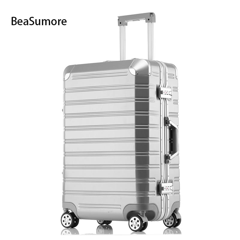 BeaSumore Men business Aluminum frame Rolling Luggage Spinner 20 inch Cabin Suitcase Wheels Travel Bag Men TrolleyBeaSumore Men business Aluminum frame Rolling Luggage Spinner 20 inch Cabin Suitcase Wheels Travel Bag Men Trolley