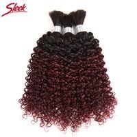 Sleek Hair 10 To 30 Inch Remy Brazilian Curly Bulk Human Hair For Braiding 3 Bundles Deal Crochet Human Hair Braids Ombre 99J