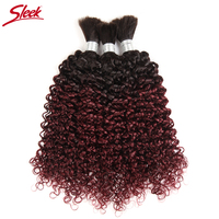 Sleek Hair 10 To 30 Inch Remy Brazilian Curly Bulk Human Hair For Braiding 3 Bundles Deal Crochet Human Hair Braids Ombre 99J
