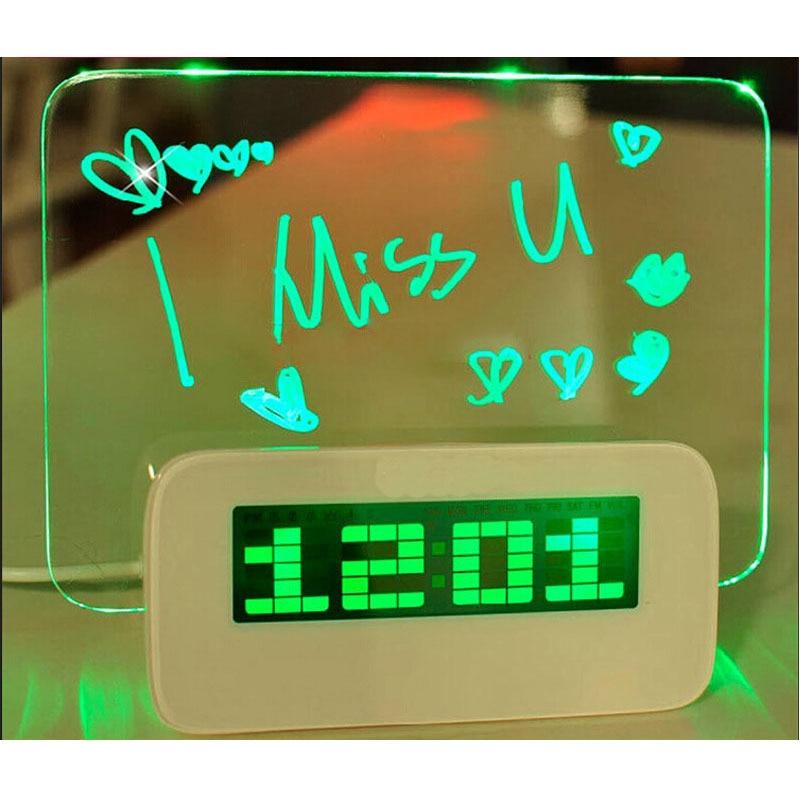 LED Night Light Green Fluorescent Message Board Digital Atomic Alarm Clock Fo