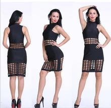 ladies women's clothing fashion Slim Skinny Bandage Bodycon sheath Sexy & Club  hollow out dresses X012
