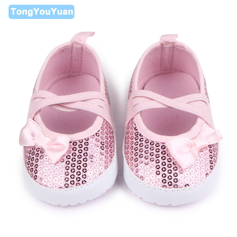 Cute Sequins With Little Bow-knot Shallow Elastic band Baby Girls Shoes For 0-15 Months