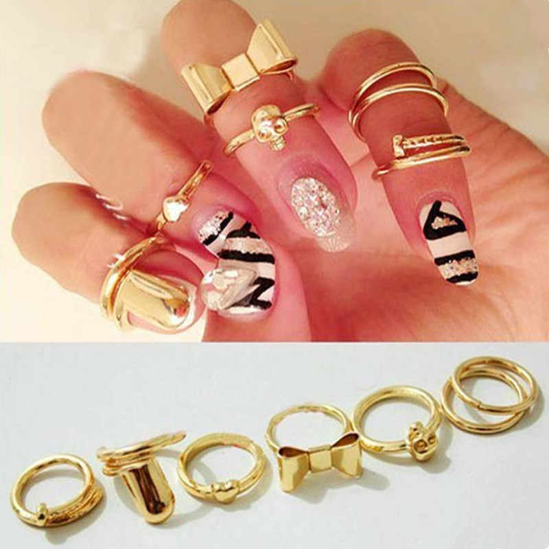 7 pcs/set personality Gold Color Midi Finger Ring Set Love Bowknot Ring for Women Vintage Boho Knuckle Party Rings Punk Jewelry