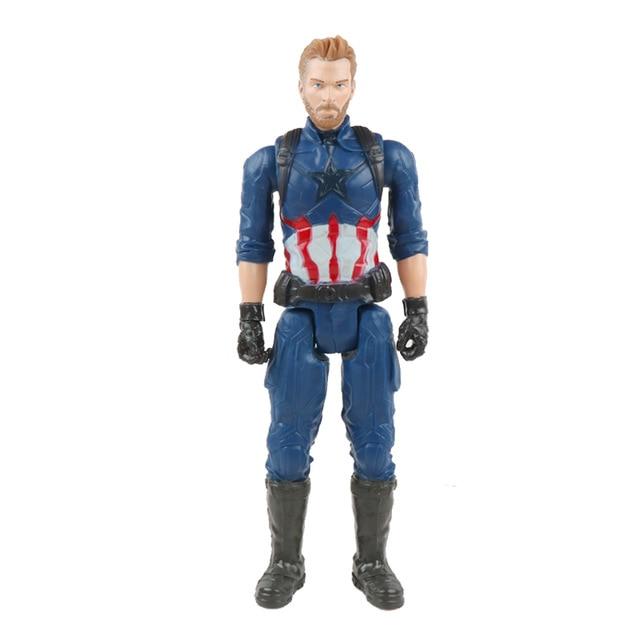 30 см Marvel Мстители игрушки танос Халк Бастер человек паук Железный человек Капитан Америка Тор Росомаха Черная пантера фигурка куклы - Цвет: 1captain no box