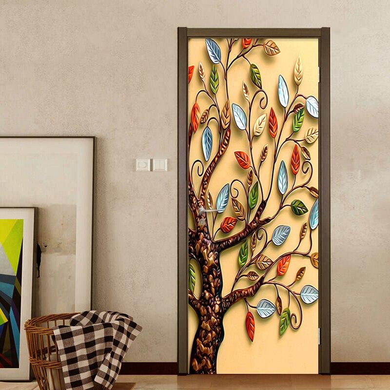 Home Decoration Door Sticker 3D Relief Colorful Tree Wallpaper Wall Mural Living Room Bedroom Study Creative PVC 3 D Door Decals