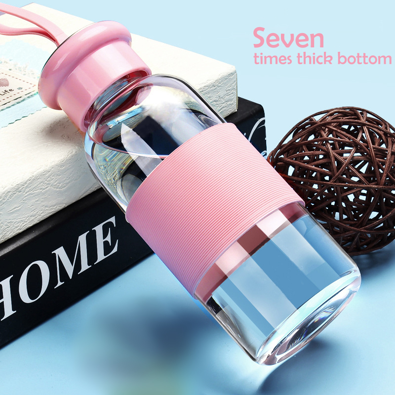 Cute glass bottle water with string leak-proof sports drink bottle children cartoon bottle with lid blue pink green purple color