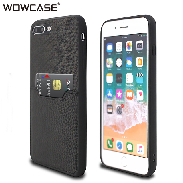 new style 85447 2fc51 US $7.99 20% OFF|For iPhone 7 Case iPhone 8 Plus,WOWCASE Business Leather  Card Slot Wallet Ultra Slim Silicon Cover For iPhone 7Plus 8Plus Fundas-in  ...