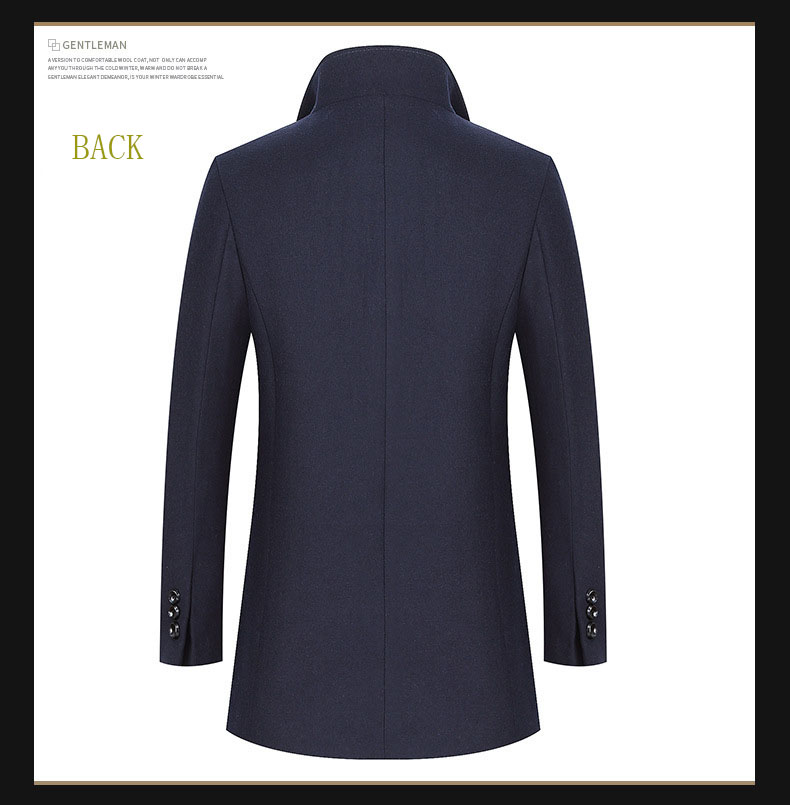 2018 D'hiver Coupe De Épais Manteaux Poitrine vent Green down Solide marine Unique Casual 4xl Drop bourgogne gris Coffee Hommes Vestes Bleu Laine Vêtements Turn Collar Shipping deep wqnPpE0xY